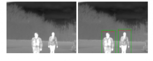 Extract from the paper, Figure 1. Detections in long wavelength IR imagery after training faster RCNN with RGB data with (left image) and without (right image) our extra mean squared error loss term.