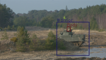 Figure 1: Automatic detection of a Warrior vehicle and crewmember during a trial